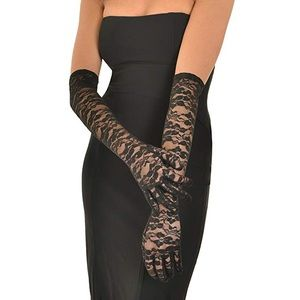 Sexy Black Arms Length Gloves 🧤 Lace & Solid Set